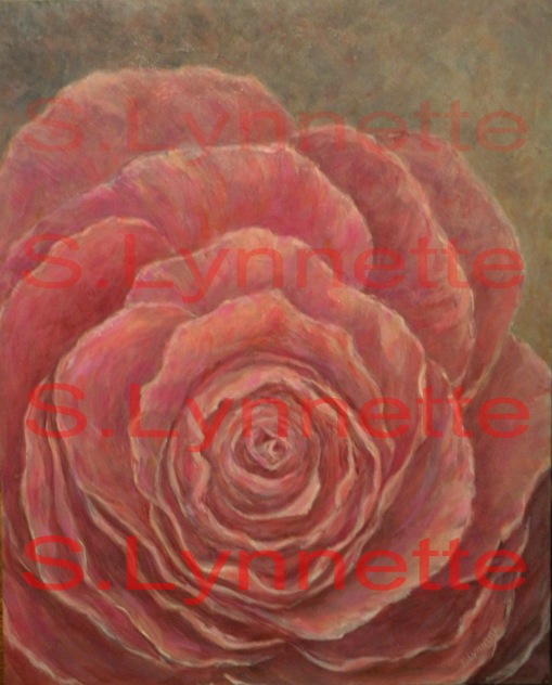 Pink Rose Floral Painting by S.Lynnette